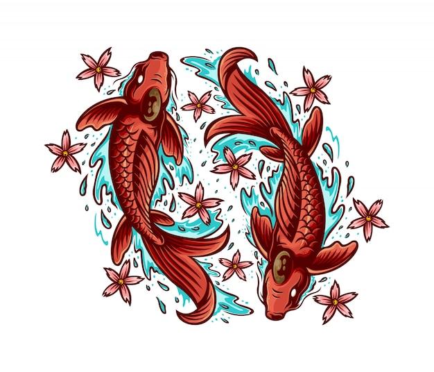 Ilustracja sakura ryb koi