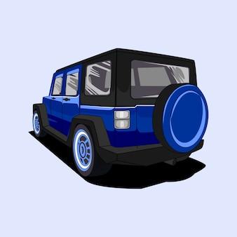 Ilustracja samochód 4x4 drogi