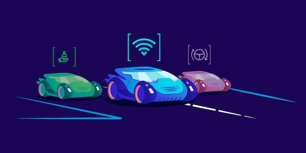Ilustracja samochodów bez kierowcy