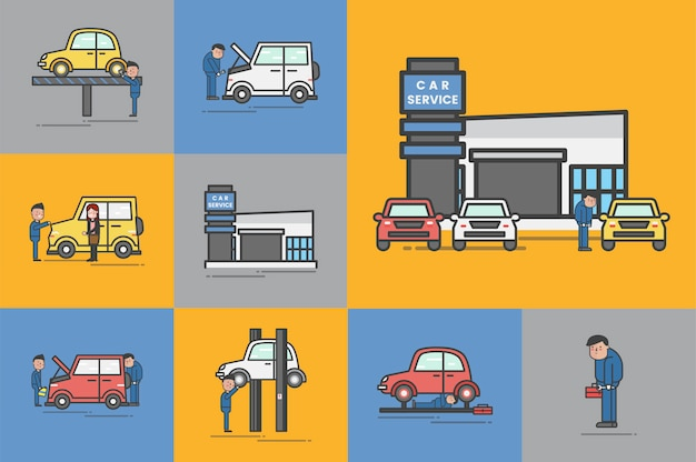 Ilustracja samochodowego garażu wektoru set