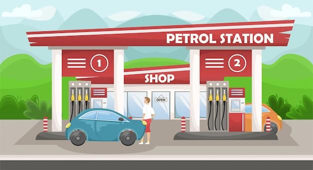 Ilustracja samochodowej stacji paliw ze sklepem. stacja benzynowa na wsi
