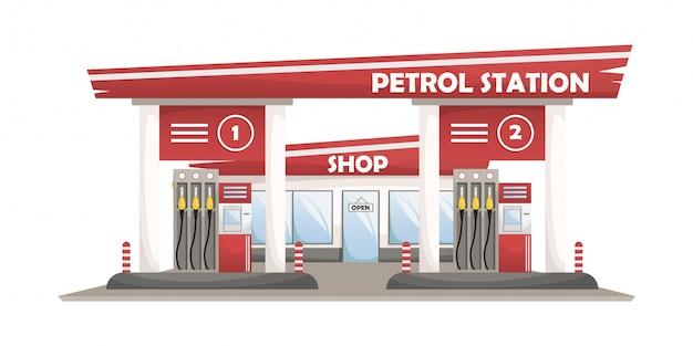 Ilustracja samochodowej stacji paliw ze sklepem.