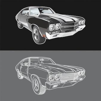 Ilustracja samochodu chevrolet chevelle ss