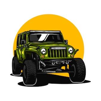 Ilustracja samochodu jeepa z jednolitym kolorem