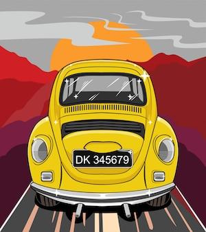 Ilustracja samochodu, klasyczny samochód chrząszcz vw