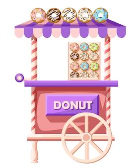 Ilustracja samochodu pączki. mobilna ikona ciężarówki retro vintage sklep z szyldem z dużym pączkiem z smaczną glazurą. widok z boku van, na białym tle. ulica donuts ciężarówka.