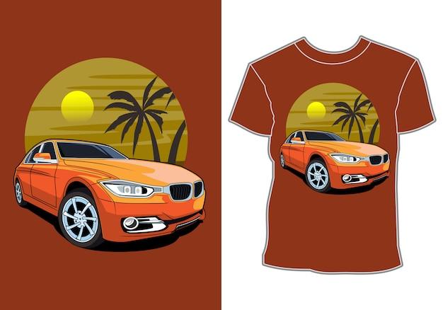 Ilustracja samochodu, projekt koszulki