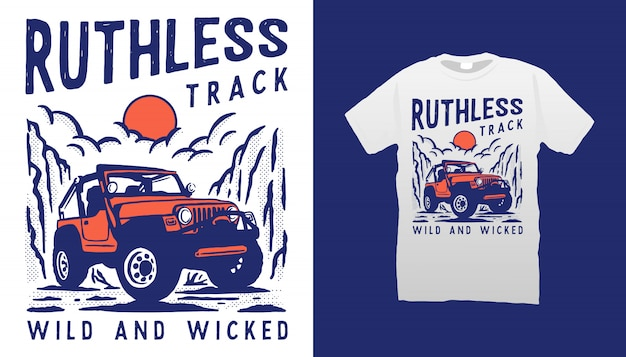 Ilustracja samochodu terenowego projekt koszulki