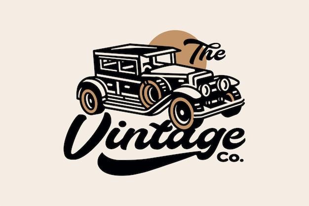 Ilustracja samochodu w stylu vintage