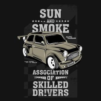 Ilustracja samochodu z szybkim silnikiem słońca i dymu