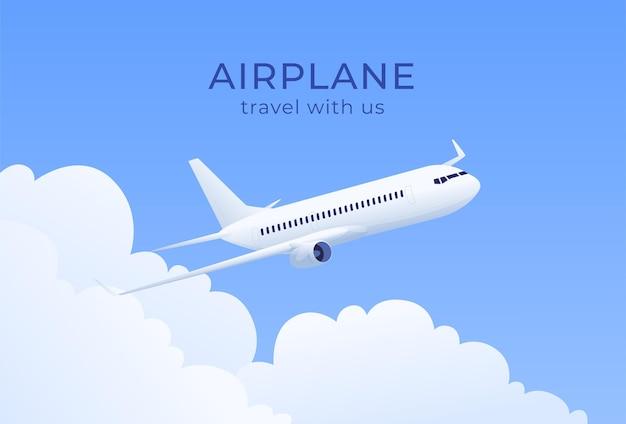 Ilustracja samolotu nad chmurami