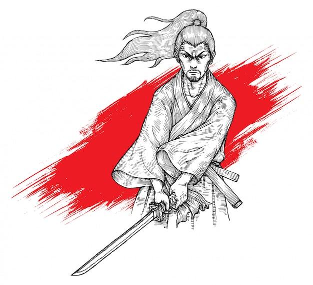 Ilustracja samurai katana