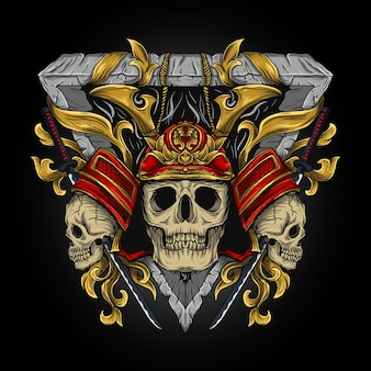 Ilustracja samuraj czaszka grawerowanie ornament