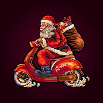 Ilustracja santa dostarcza prezenty na skuterze retro
