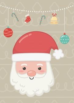 Ilustracja santa twarz, girlanda, piłki, trzciny cukrowej i dzwon