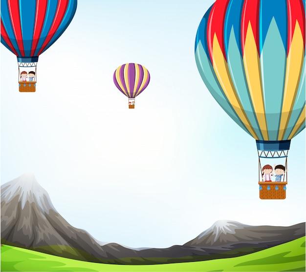 Ilustracja scena gorącym powietrzem balon