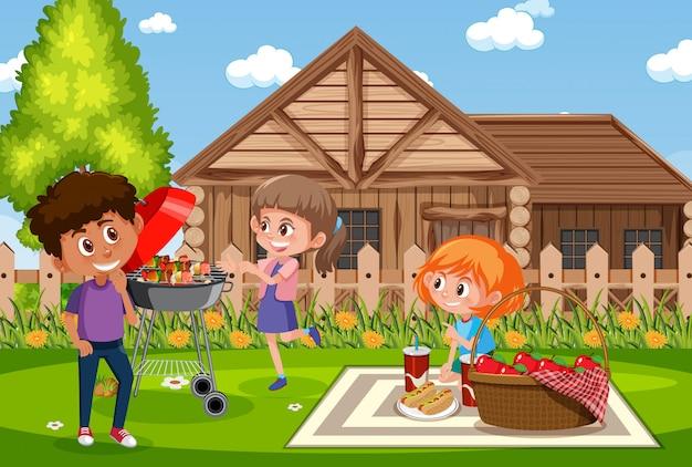 Ilustracja scena z ludźmi ma pinkin w parku