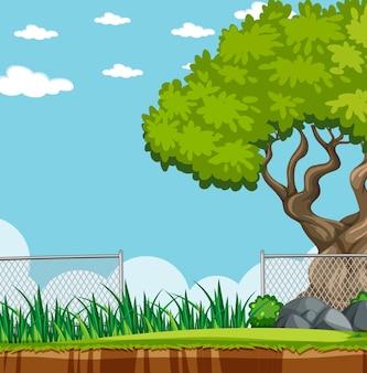 Ilustracja scenerii parku przyrody