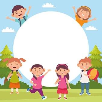 Ilustracja sceny na świeżym powietrzu dla dzieci z pustą przestrzenią