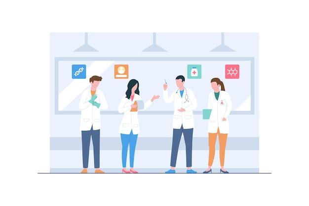 Ilustracja sceny zespołu medycznego najlepszych lekarzy