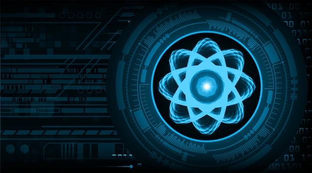 Ilustracja schematu świecącego atomu.