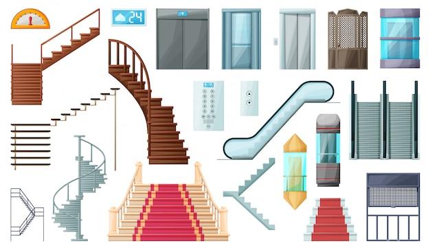Ilustracja schody i schody ruchome. ikona kreskówka na białym tle drewniane metalowe schody