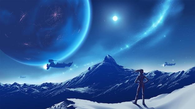 Ilustracja science fiction przedstawiająca damę stojącą na szczycie i patrzącą na ogromną górę