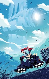 Ilustracja science fiction przedstawiająca dwoje dzieci jeżdżących hulajnogą poduszkowcem, niosące swoje plony na przyczepie