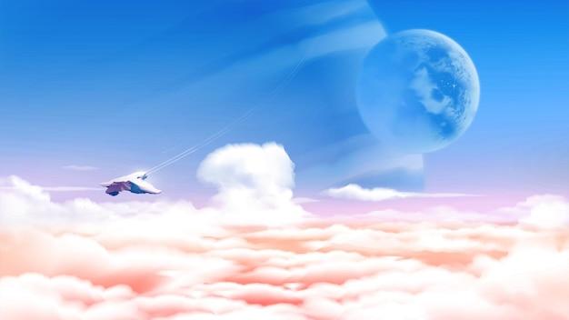 Ilustracja science fiction przedstawiająca obcą planetę nad morzem chmur z rozległym widokiem na masywne planety