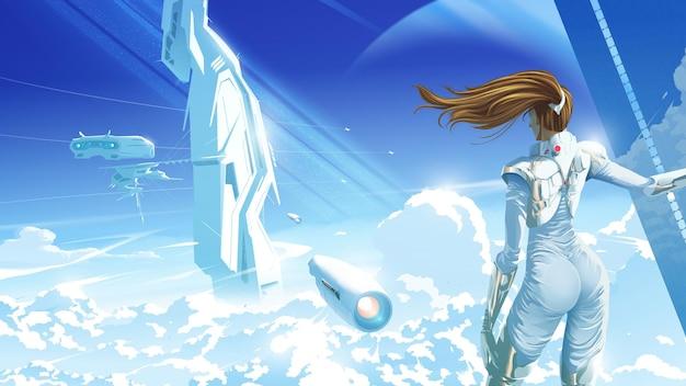 Ilustracja science fiction przedstawiająca piękną kobietę stojącą i patrzącą na statek kosmiczny