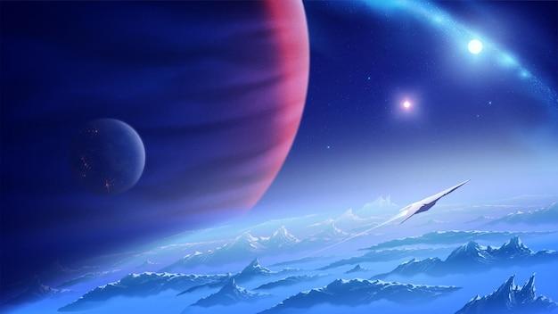 Ilustracja science fiction przedstawiająca statek kosmiczny lecący z nieznanej planety we wszechświecie