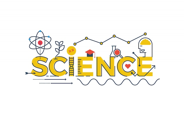 Ilustracja science słowo w stem - nauka, technologia, inżynieria, matematyka