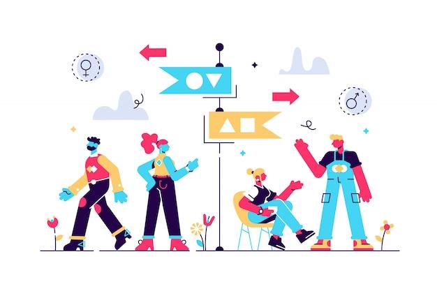 Ilustracja segregacji. koncepcja sortowania osób o drobnej równości