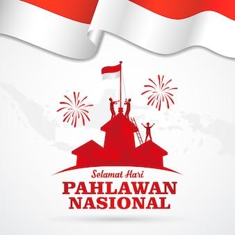 Ilustracja. selamat hari pahlawan nasional. tłumaczenie: szczęśliwy dzień indonezyjskich bohaterów narodowych. nadaje się do kart okolicznościowych, plakatów i banerów