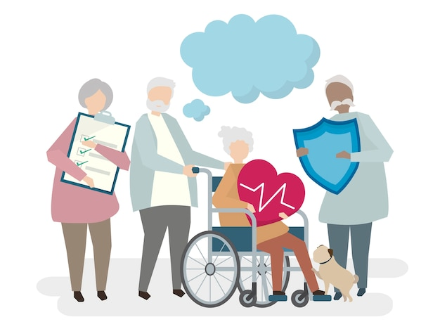 Ilustracja seniorów z ubezpieczeniem na życie
