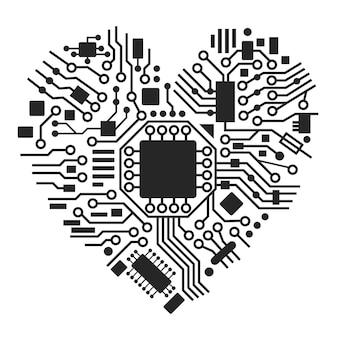 Ilustracja serca cyber technologii