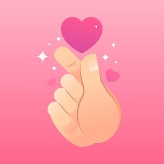 Ilustracja serca gradientu palec