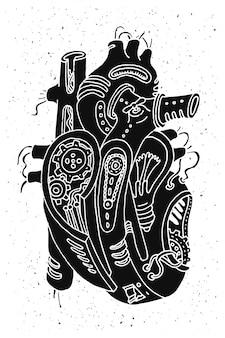 Ilustracja serca steampunk