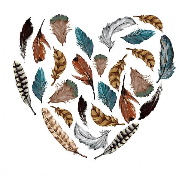 Ilustracja serce z piór