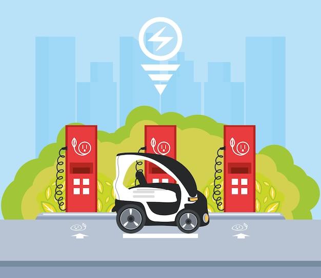 Ilustracja serwis pompy stacji ładowania kompaktowego samochodu elektrycznego