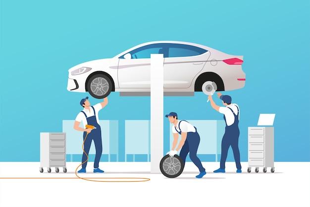 Ilustracja serwisu i naprawy samochodów