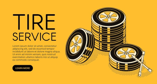 Ilustracja serwisu opon samochodów dla reklamy stacji napraw samochodowych do pompowania