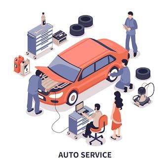 Ilustracja serwisu samochodowego