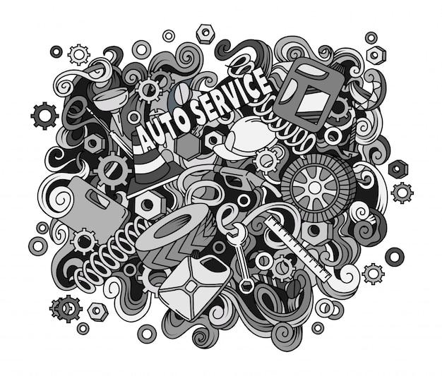 Ilustracja serwisu samochodowego.