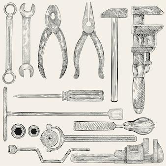 Ilustracja set mechaników narzędzia
