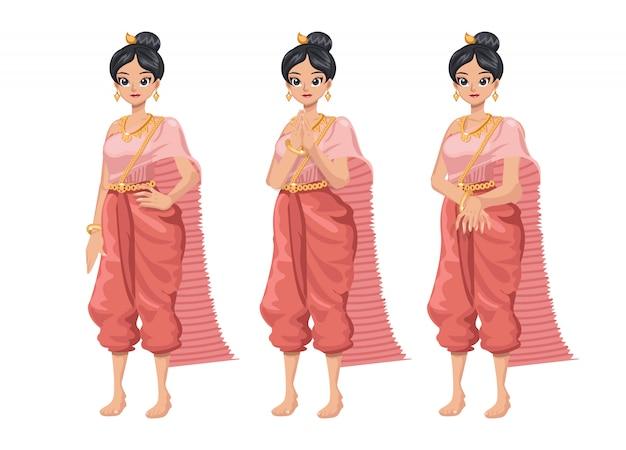 Ilustracja set tajlandzkie kobiety w tajlandzkiej tradycyjnej sukni.