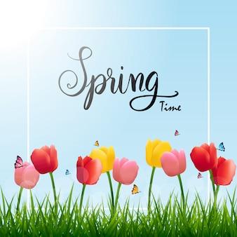 Ilustracja sezon wiosna natura czas