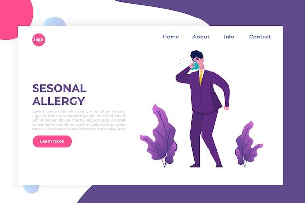 Ilustracja sezonowa alergia. biuro mężczyzna z objawami alergii - strona docelowa zdrowia, szablon banera