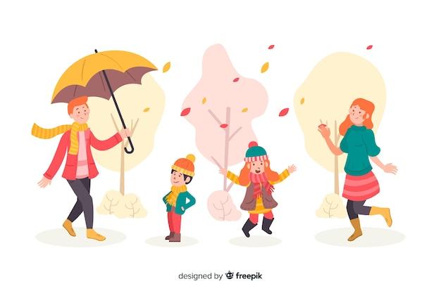 Ilustracja sezonowe ubrania jesień