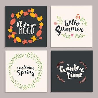 Ilustracja sezonu. ilustracja. cztery pory roku ręcznie rysowane napis karty. ilustracja.